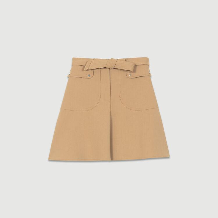 Jupe avec ceinture à nouer : Jupes & Shorts couleur Camel