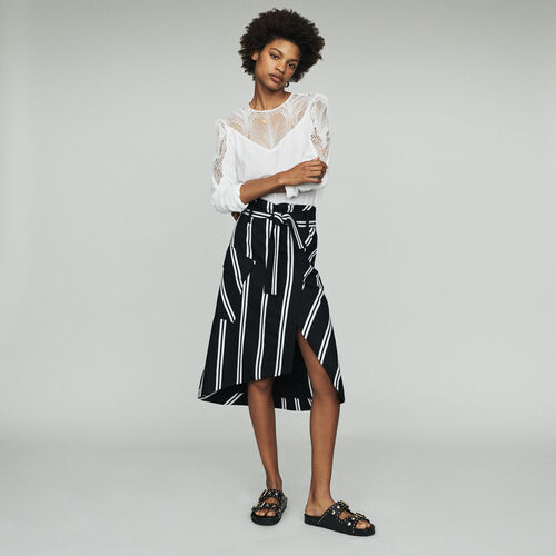 Midi skirt with stripes : Skirts & Shorts color Stripe