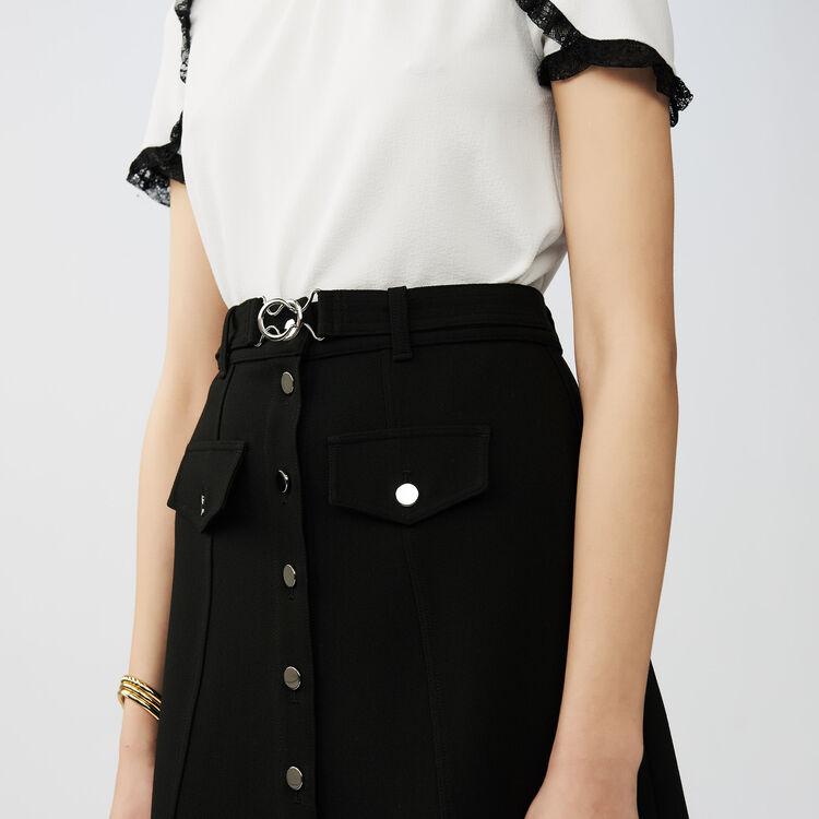 Jupe trapèze ceinturée : Jupes & Shorts couleur Black