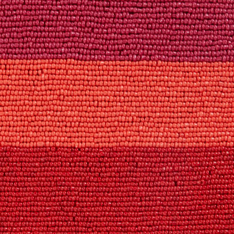 Sac M à franges en cuir avec perles : null couleur Framboise