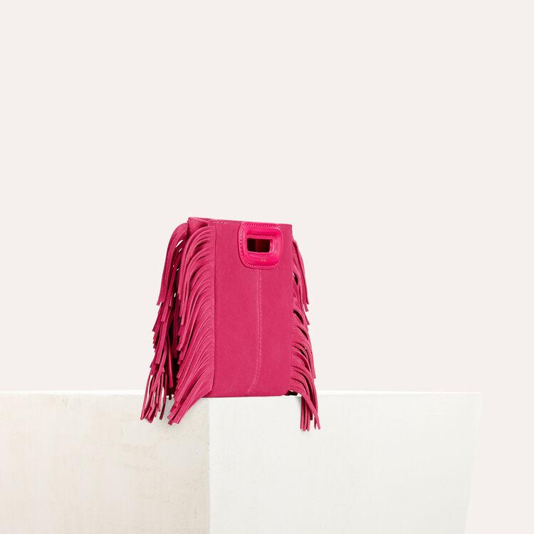 Sac M mini en suède avec franges : Sacs M couleur ROSE
