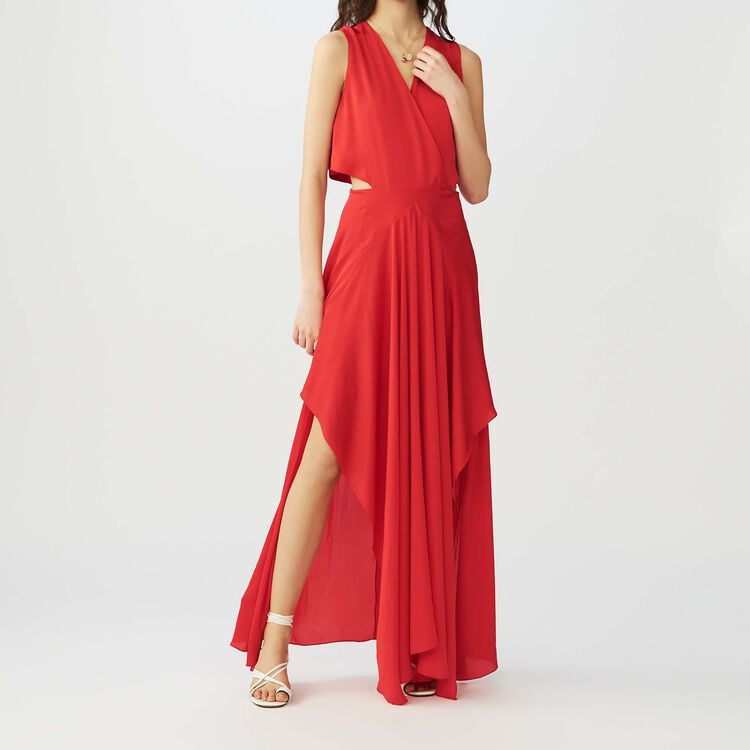Robe longue portefeuille : Robes couleur Rouge