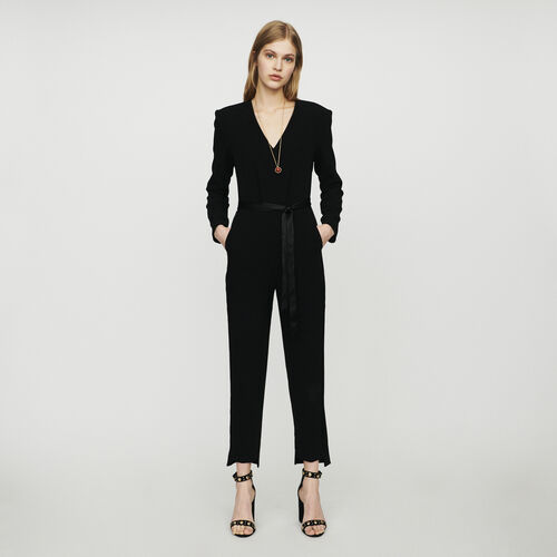 Combinaison-pantalon en crêpe : New in : Collection Été couleur Black