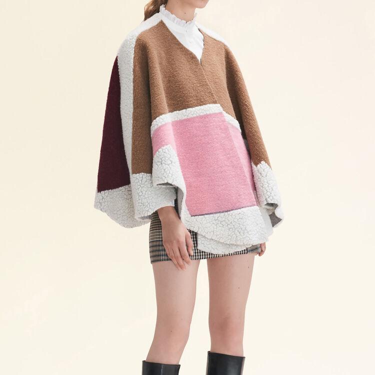Poncho mix de matières multicolore : Accessoires couleur ROSE