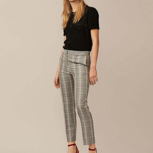 Checked straight-leg trousers - Pre-collection - MAJE