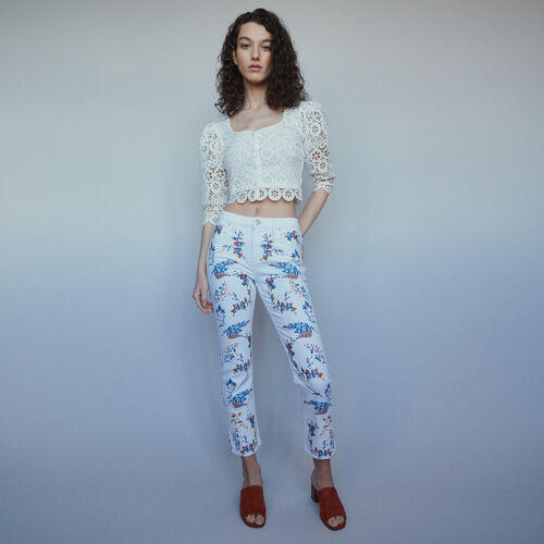 Straight embroidered jeans : Trousers & Jeans color Multico