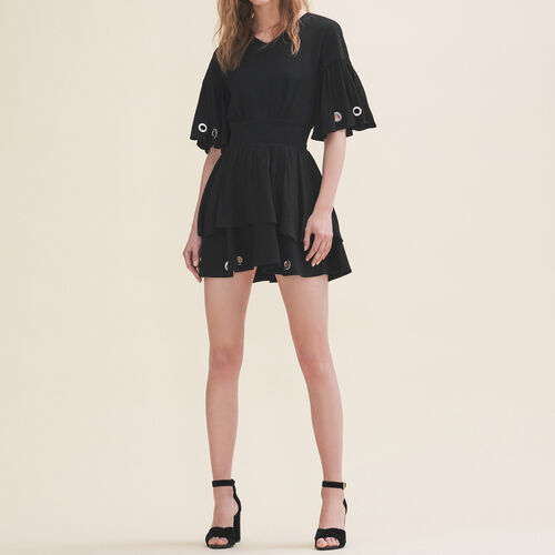 Flowing dress with eyelets : See all color Black 210