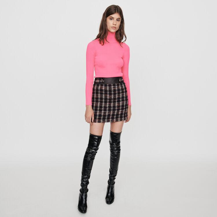 Pull fin à côtes à col montant : Pulls & Cardigans couleur Rose Fluo