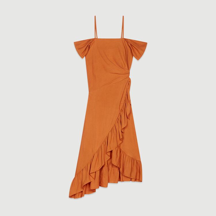 Robe midi à épaules dénudées : Robes couleur Terracotta
