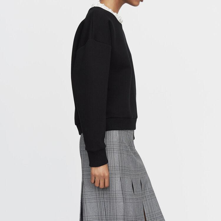 Sweat-shirt molletonné avec perles : Maille couleur Black