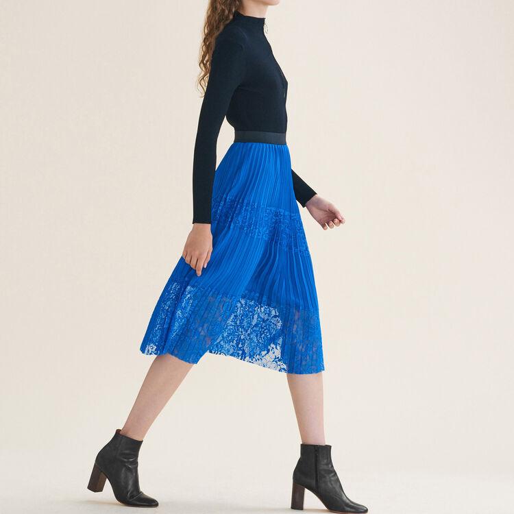 Jupe plissée avec dentelle : Jupes & Shorts couleur Bleu