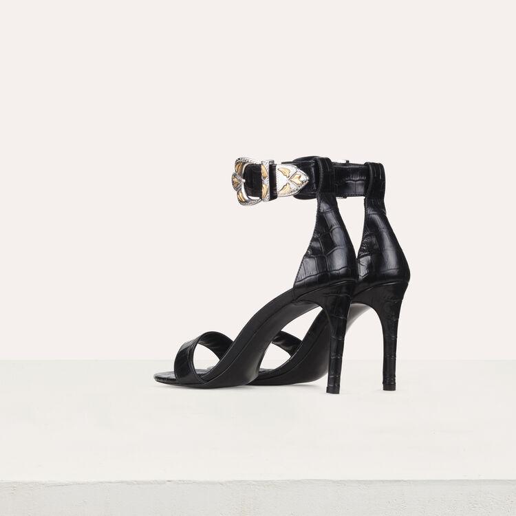 Sandales à talon en cuir : Escarpins couleur Black
