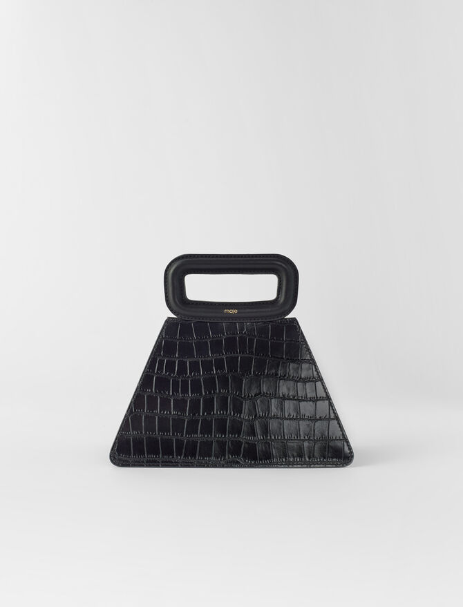 Embossed leather pyramid handle bag -  - MAJE