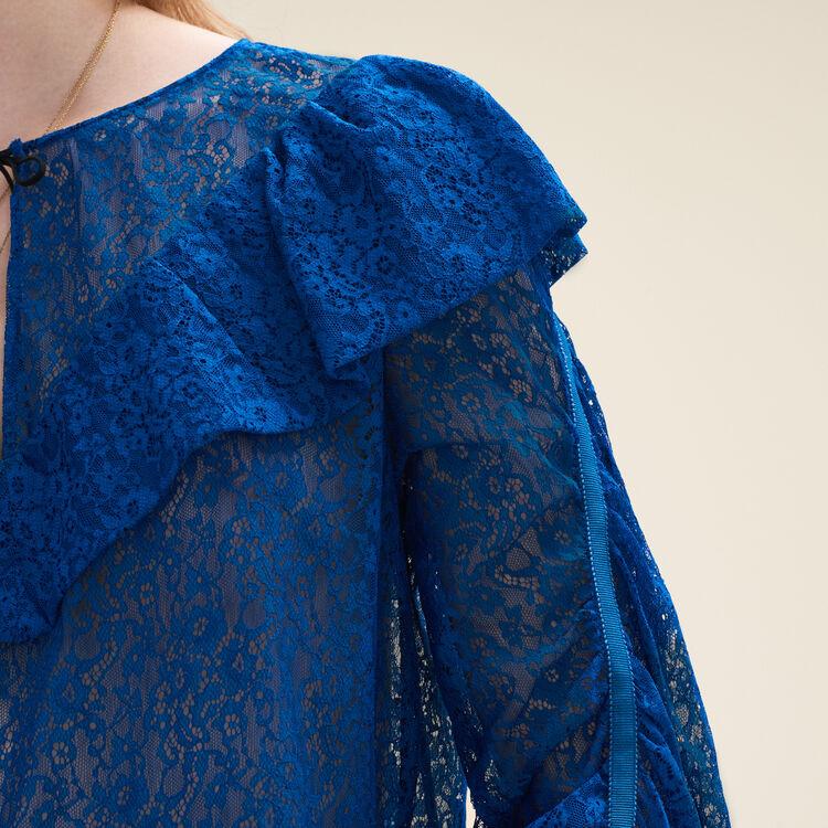 Top en dentelle : Tops couleur Bleu