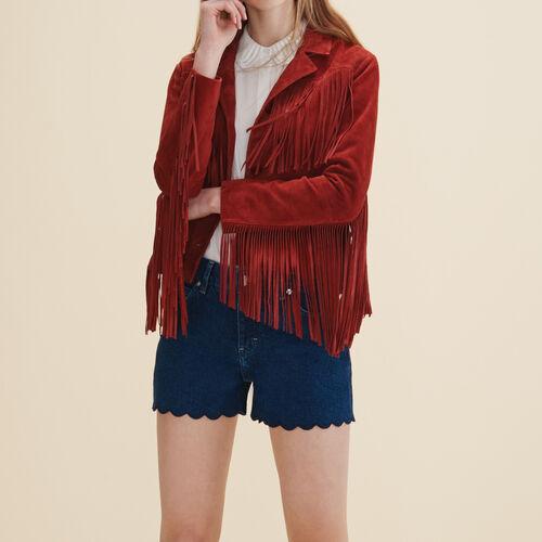 Veste en cuir avec franges - Blousons & Cuirs - MAJE