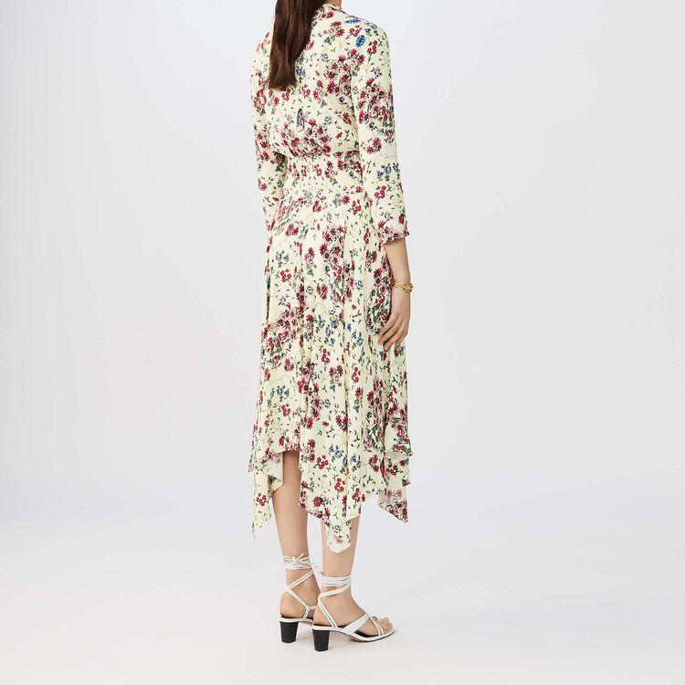 Robe asymétrique imprimée en crêpe : Robes couleur IMPRIME