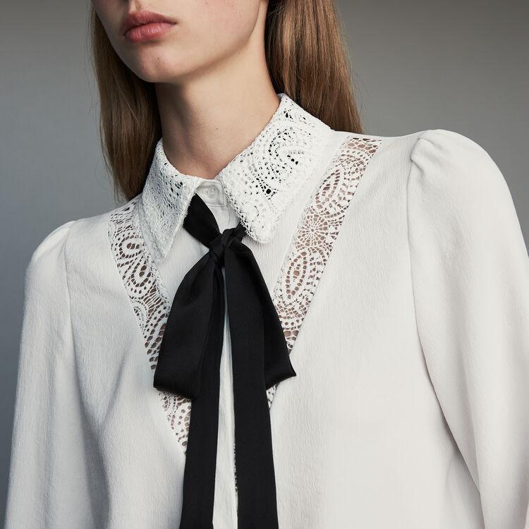 Chemise à lavallière avec dentelle : Chemises couleur Blanc