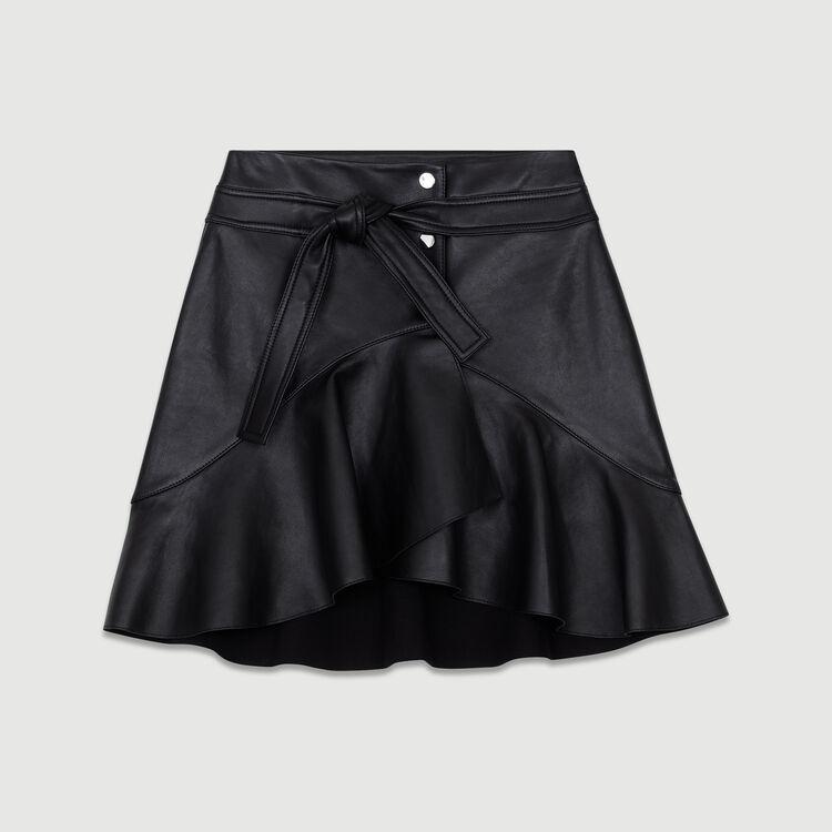 Jupe asymétrique en cuir : Tartan couleur Black