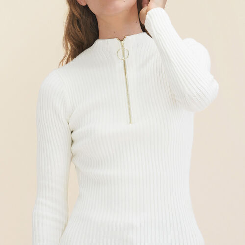 Pull fin en maille stretch : Pulls & Cardigans couleur ECRU