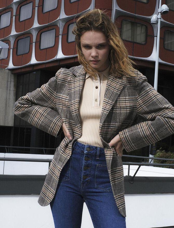 Manteau façon veste à carreaux - Manteaux & Blousons - MAJE