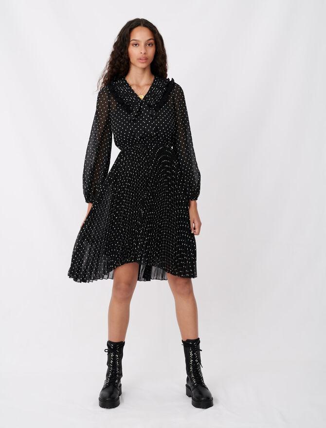 Robe en mousseline plissée effet pois - Robes - MAJE