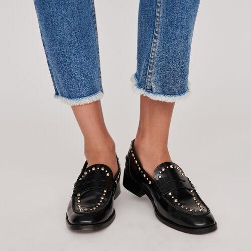 Mocassins en cuir glacé et studs : Chaussures plates couleur Noir