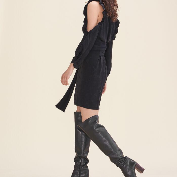 Robe imprimée avec épaules dénudées : Robes couleur Black
