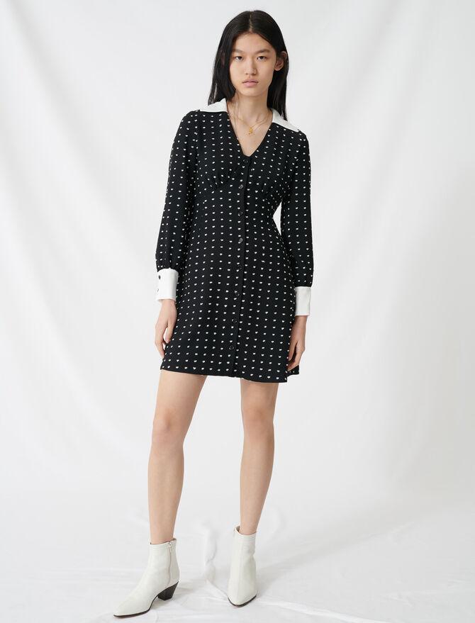 Polka dot dress with contrasting details - Dresses - MAJE