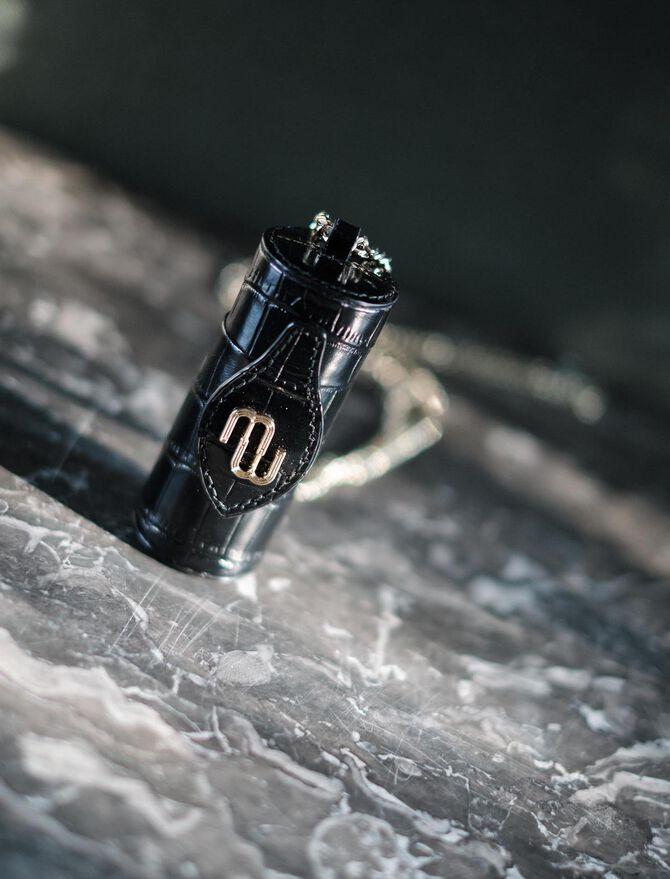 Embossed leather lipstick case -  - MAJE