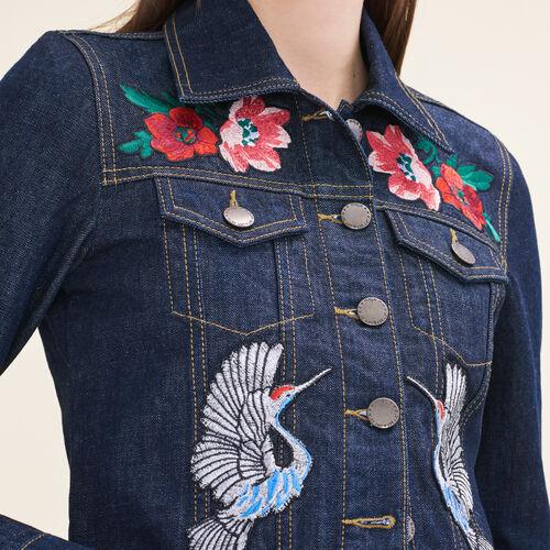 Denim jacket with embroidered crests - Jackets - MAJE