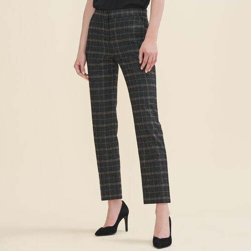 Pantalon cigarette en tartan : Pantalons & Jeans couleur Jacquard