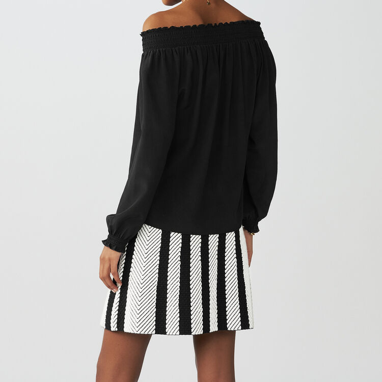Top en soie à épaules dénudées : Tops couleur Black