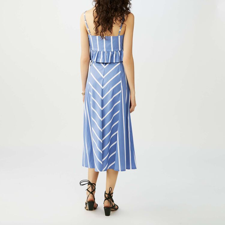 Jupe longue rayée à godets : Jupes & Shorts couleur Bleu