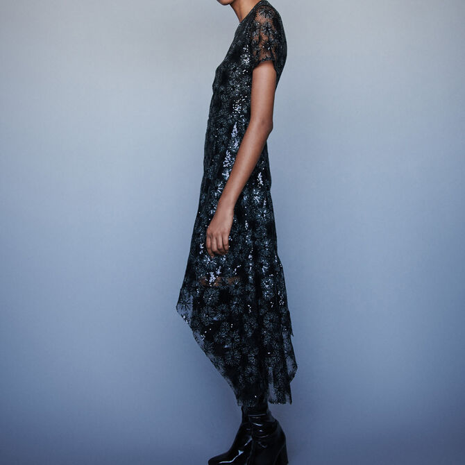 Long sequin-embroidered tulle dress - See all - MAJE