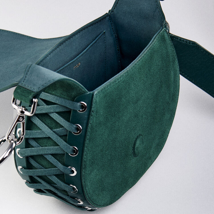 Laceup leather and suede Gyps handbag : Winter collection color GREEN