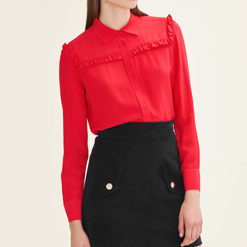 Frilled silk shirt - Shirts - MAJE
