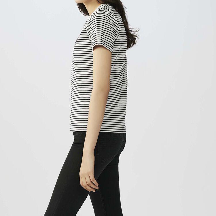 Tee-shirt rayé avec écusson : T-Shirts couleur Rayure
