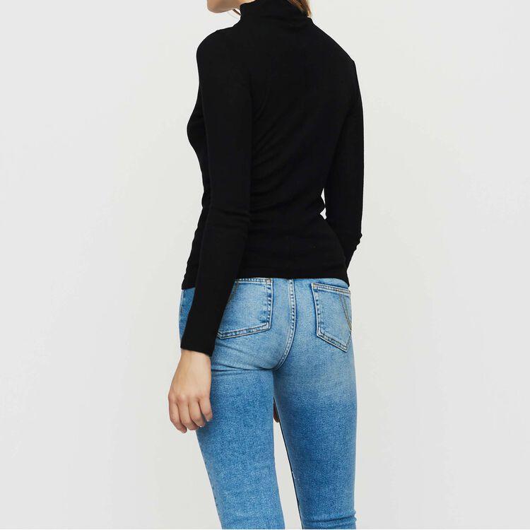 Tee shirt en jersey de laine : Maille couleur BLACK