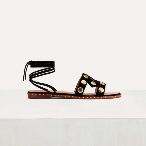 Stud suede sandals : Shoes color Black 210