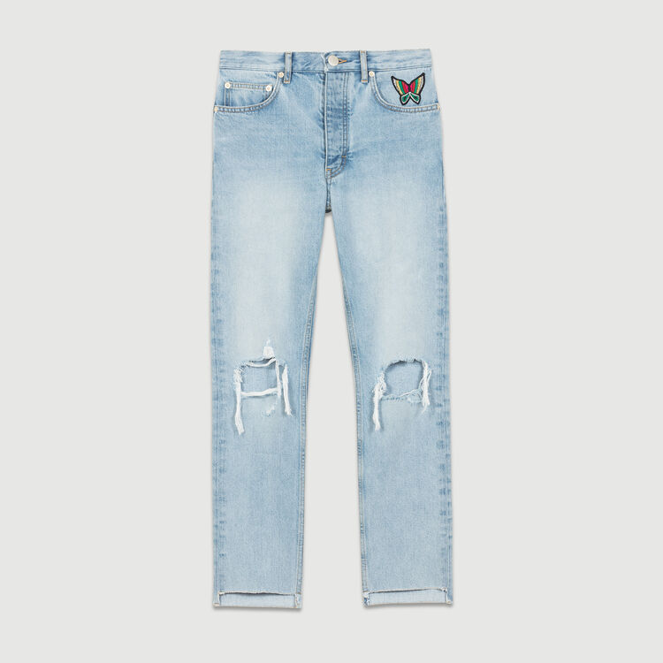 Jean court avec détails usés : Jeans couleur Denim