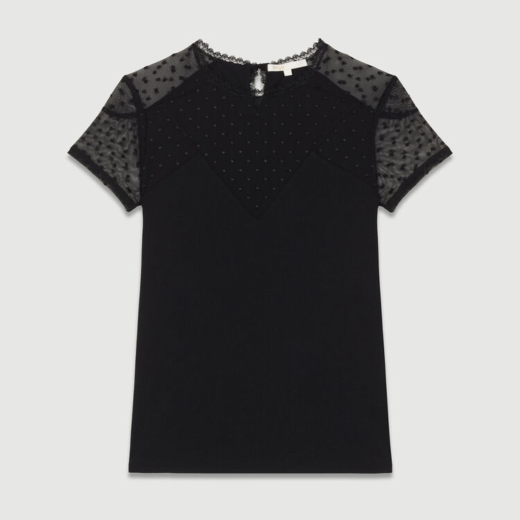 Tee-shirt avec incrustation en plumetis : T-Shirts couleur Black