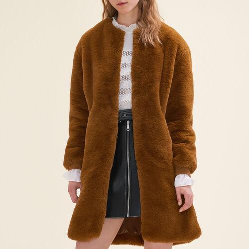 Faux fur coat : Coats & Jackets color Caramel