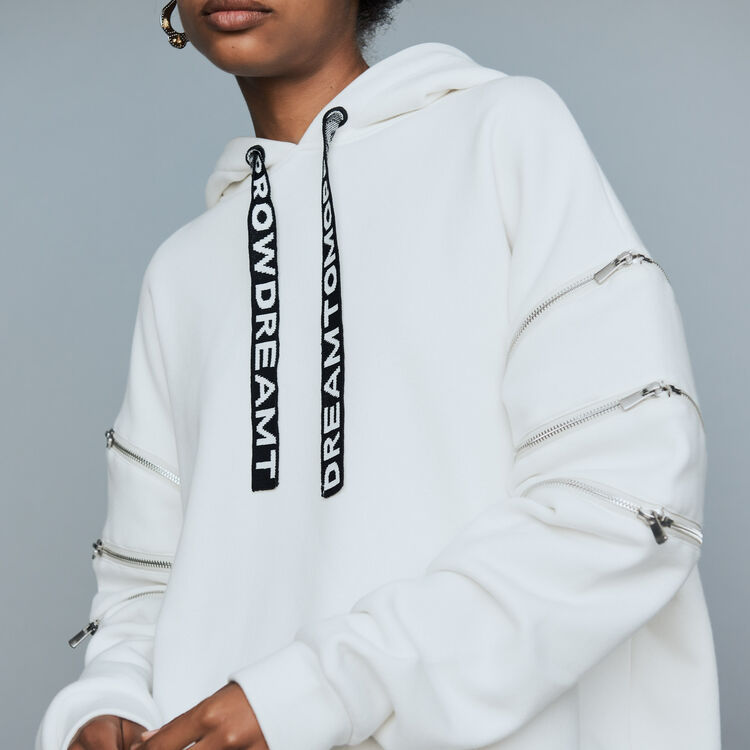 Sweat-shirt à capuche avec multi-zips : Sweats couleur Blanc