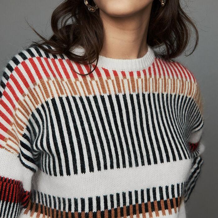 Pull oversize en laine mélangée : Maille couleur MULTICO