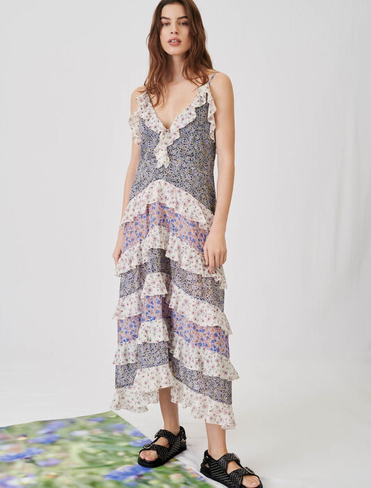 Printed cotton voile dress with ruffles : Maxi dresses color Blue
