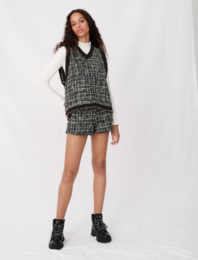 Top façon tweed à galons - Tops & Chemises - MAJE