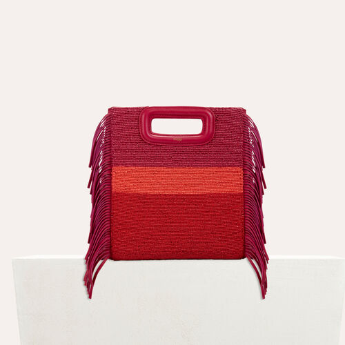 Sheepskin M bag with beads : null color Raspberry