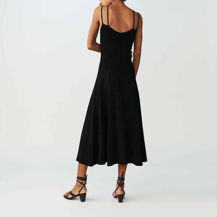 Robe longue en maille avec bretelles : Robes couleur Black