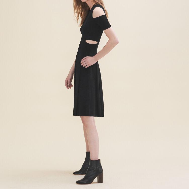 Robe en maille aux épaules dénudées : Robes couleur Black