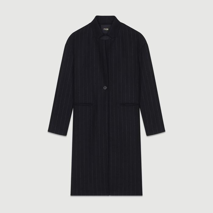 Manteau droit à fines rayures : Manteaux couleur